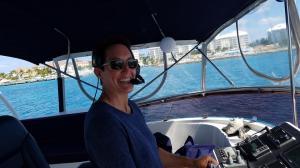 Captain Fran, taking us to Rose Island
