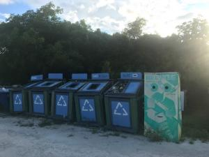 The only recycle place we have seen in all of the Bahamas - and it was overflowing