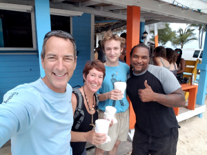 Bennett's first Sky Juice, with the Sky Juice Man, Matellus