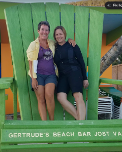 32 Fran and Molly in the big chair at Gertrude's, Jost Van Dyke, BVI