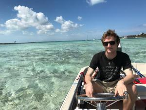 Bennett driving Killer through the shallow area on the South side of Rose Island